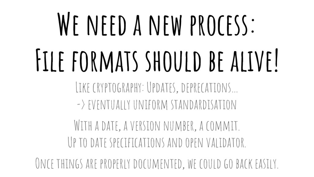 We need a new process: File formats should be a...