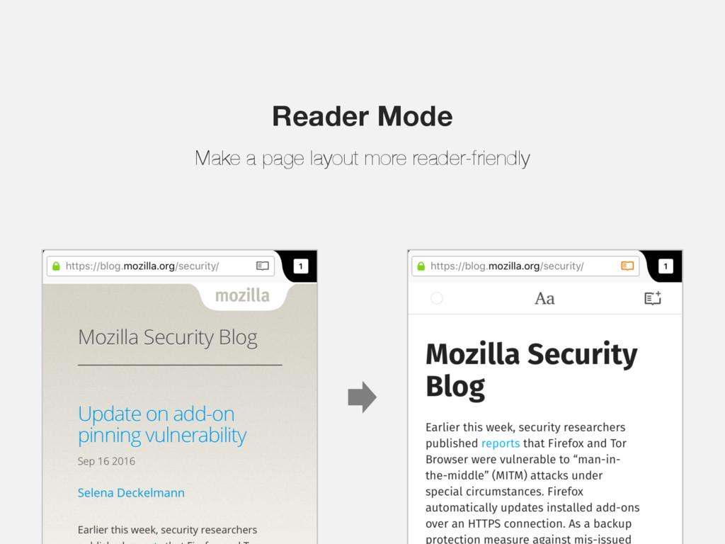 Reader Mode Make a page layout more reader-frie...