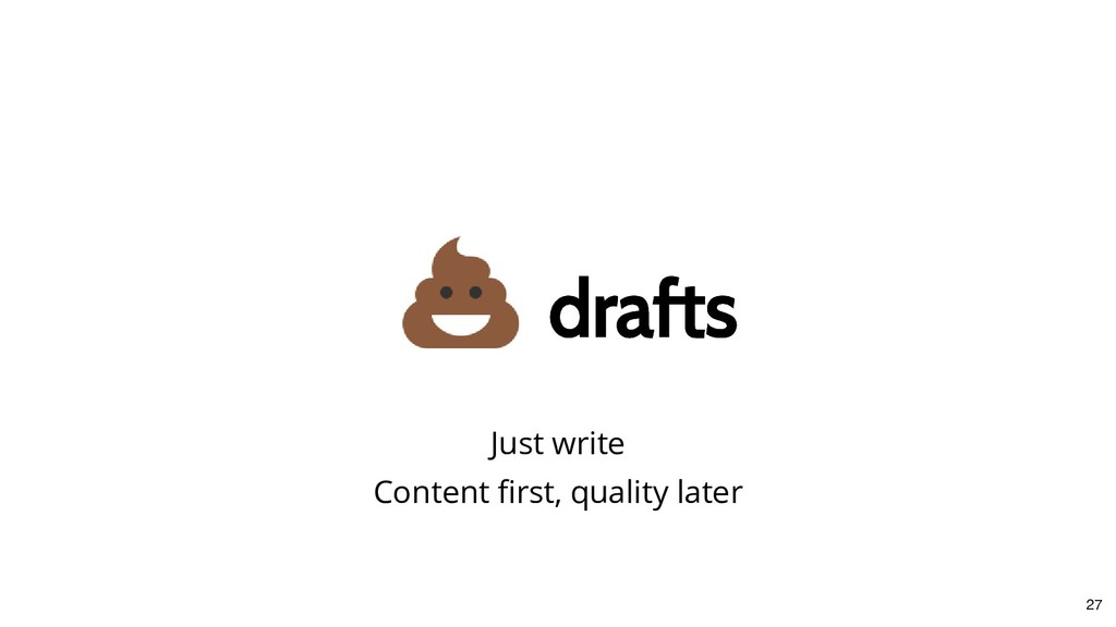 drafts drafts Just write Content first, quality ...