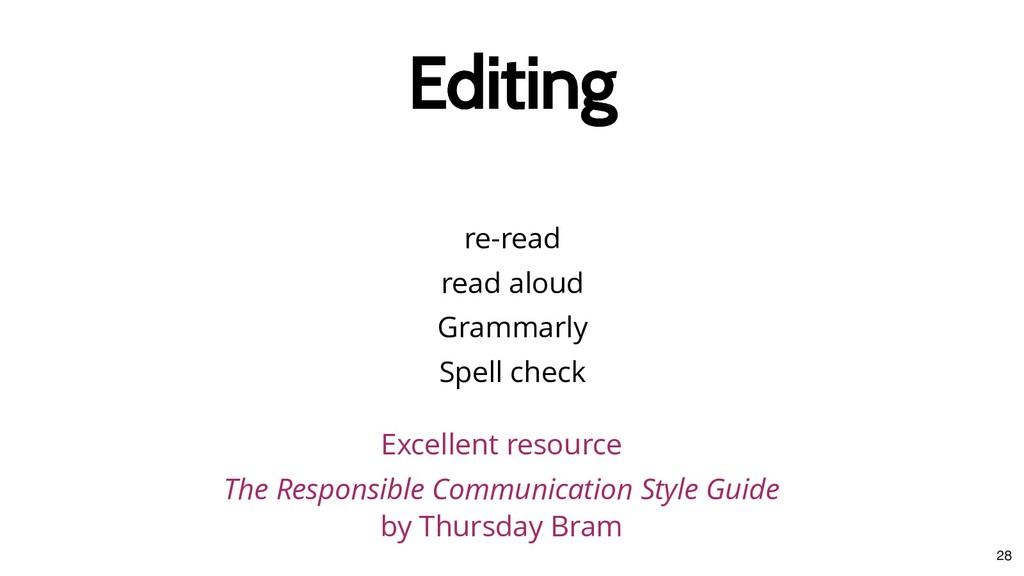 re-read read aloud Grammarly Spell check Editin...