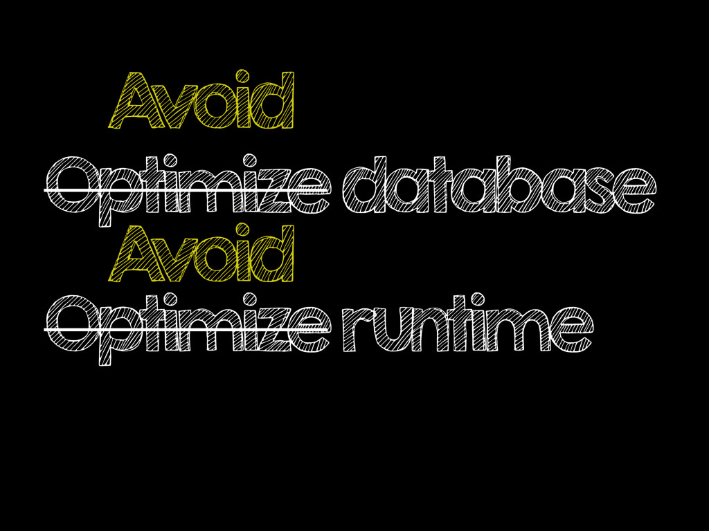 Optimize database Optimize runtime A void A void