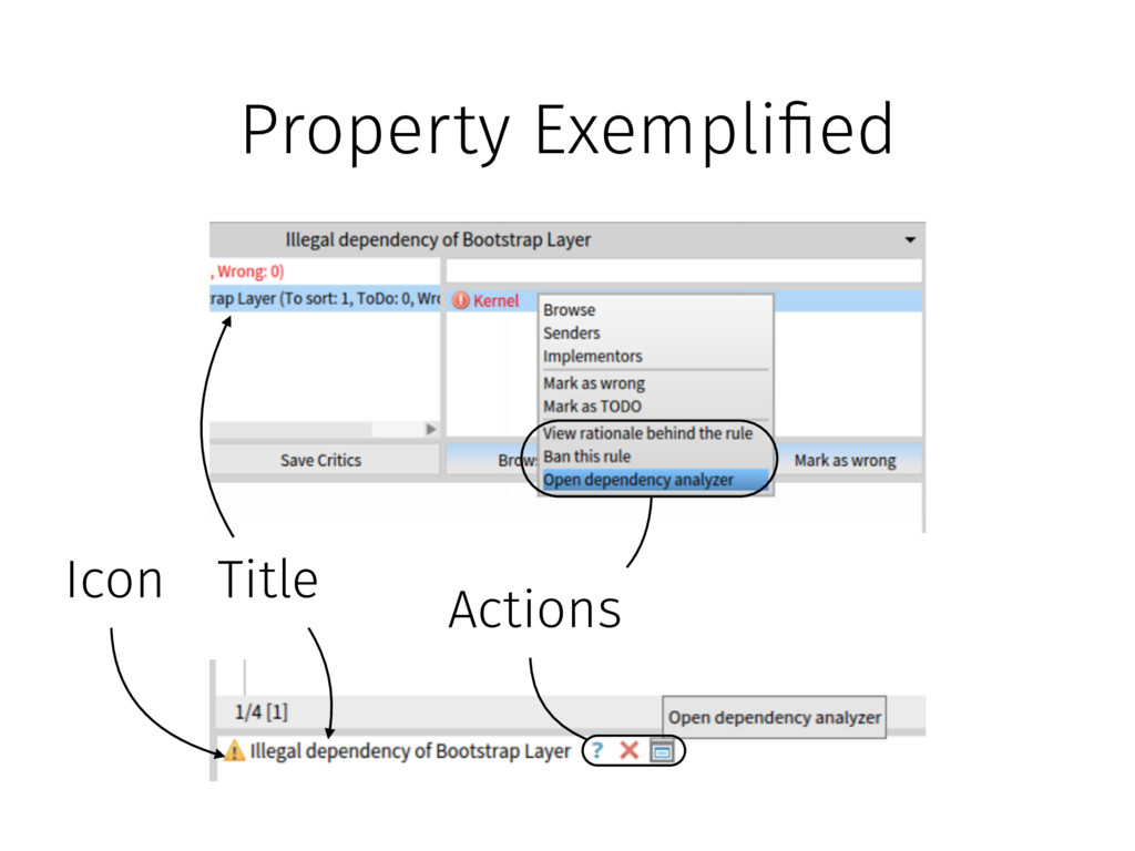 Property Exempli!ed Icon Title Actions