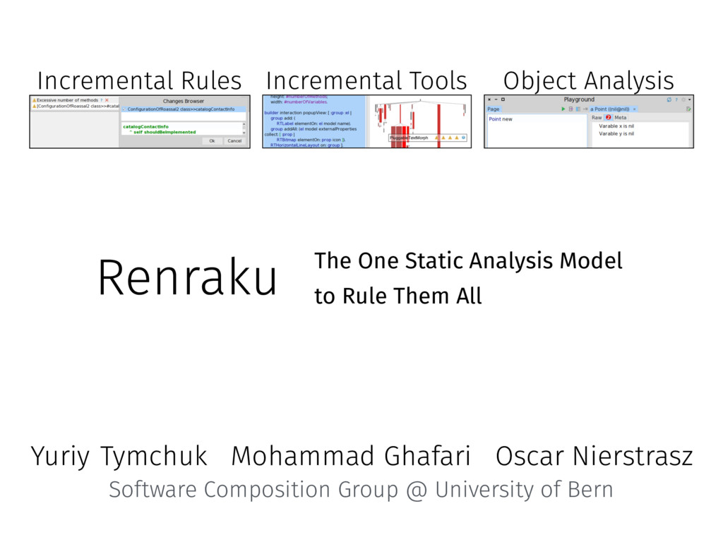 Renraku The One Static Analysis Model to Rule T...