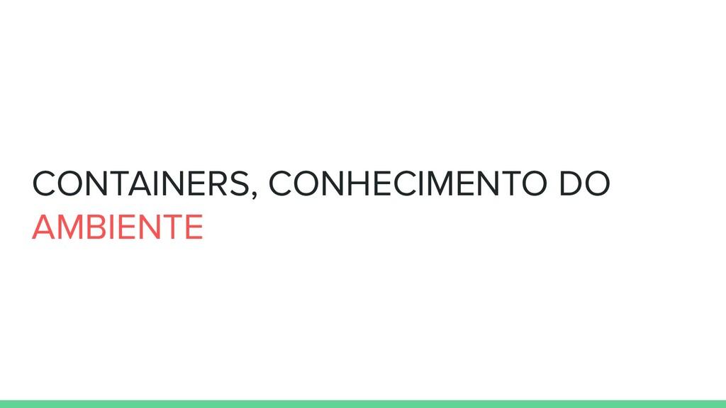 CONTAINERS, CONHECIMENTO DO AMBIENTE