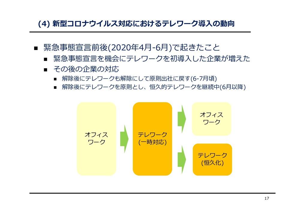 (4) 新型コロナウイルス対応におけるテレワーク導⼊の動向  緊急事態宣⾔前後(2020年4...