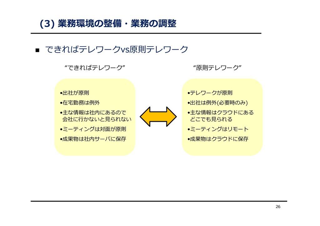 """(3) 業務環境の整備・業務の調整  できればテレワークvs原則テレワーク 26 """"できれば..."""