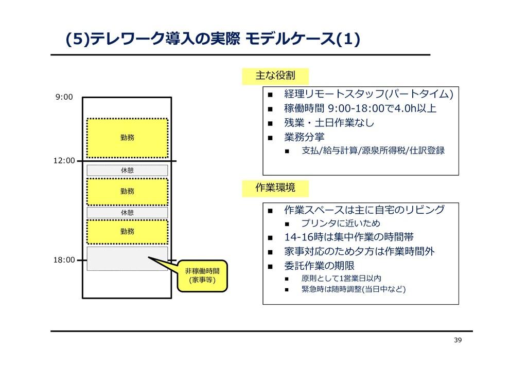 (5)テレワーク導⼊の実際 モデルケース(1) 39  経理リモートスタッフ(パートタイム)...