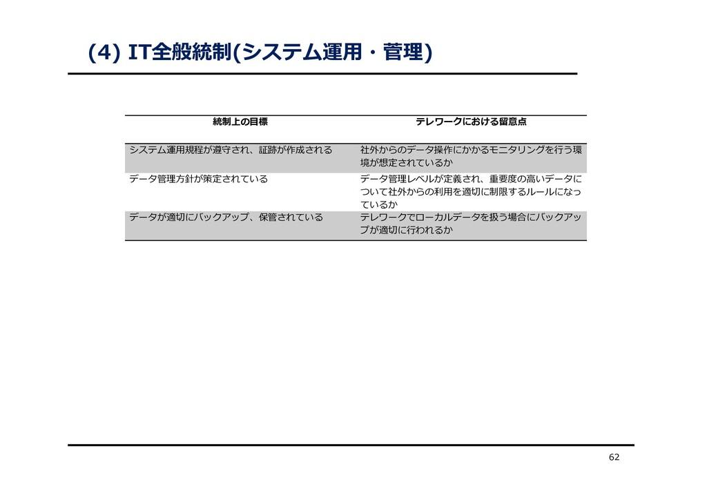 (4) IT全般統制(システム運⽤・菅理) 62 統制上の⽬標 テレワークにおける留意点 シス...