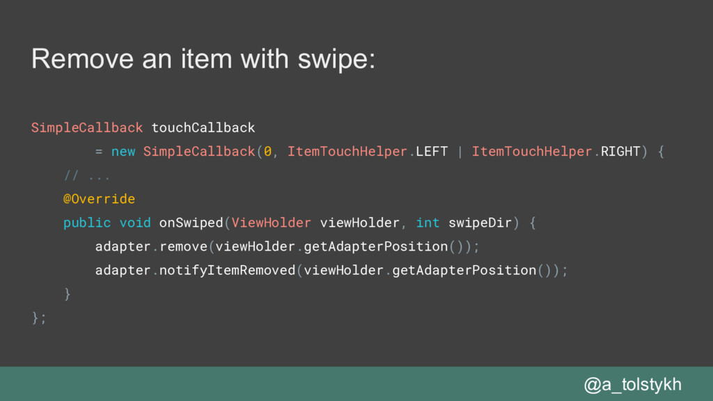 Remove an item with swipe: SimpleCallback touch...