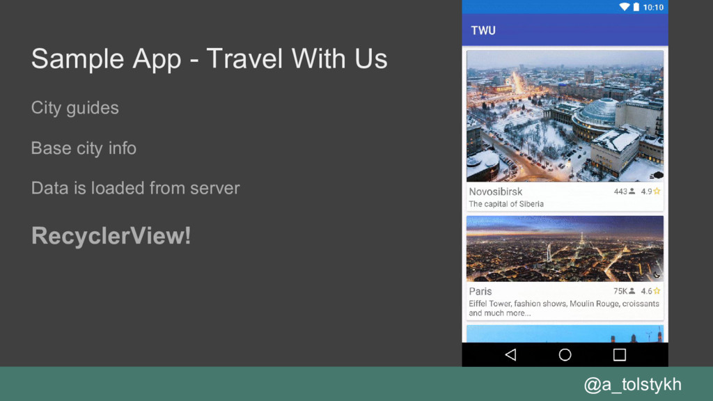 Sample App - Travel With Us City guides Base ci...