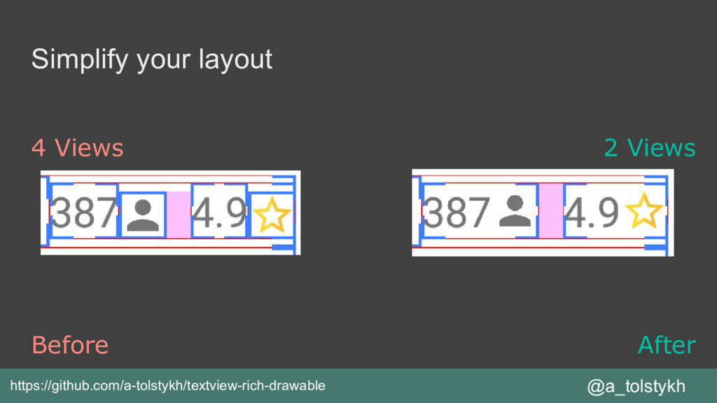 Simplify your layout @a_tolstykh Before After h...