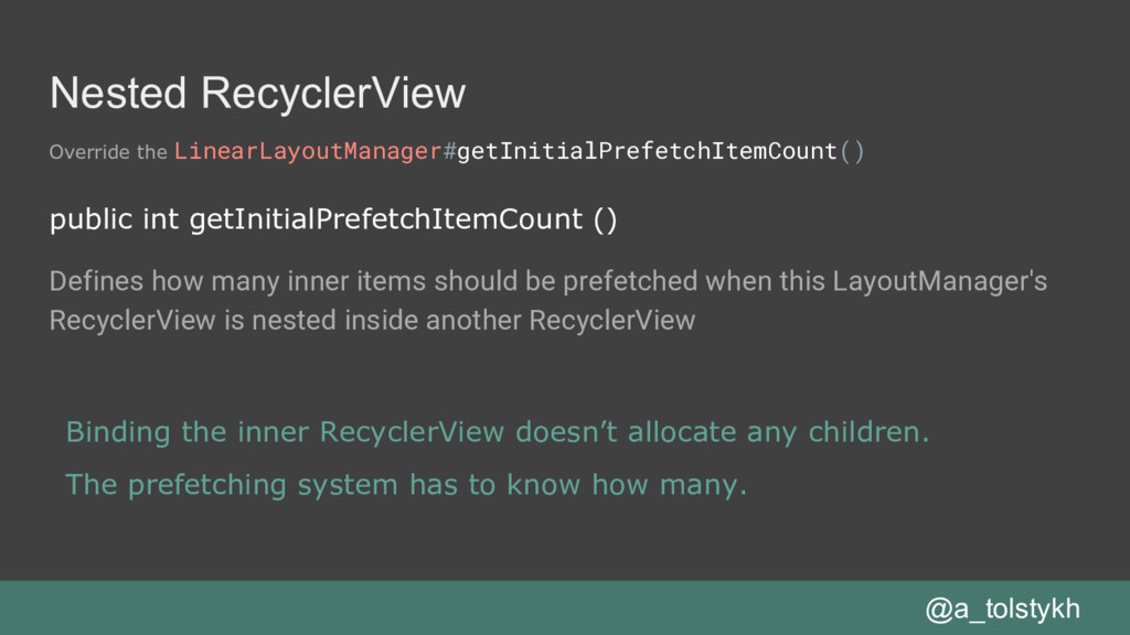 Nested RecyclerView Override the LinearLayoutMa...