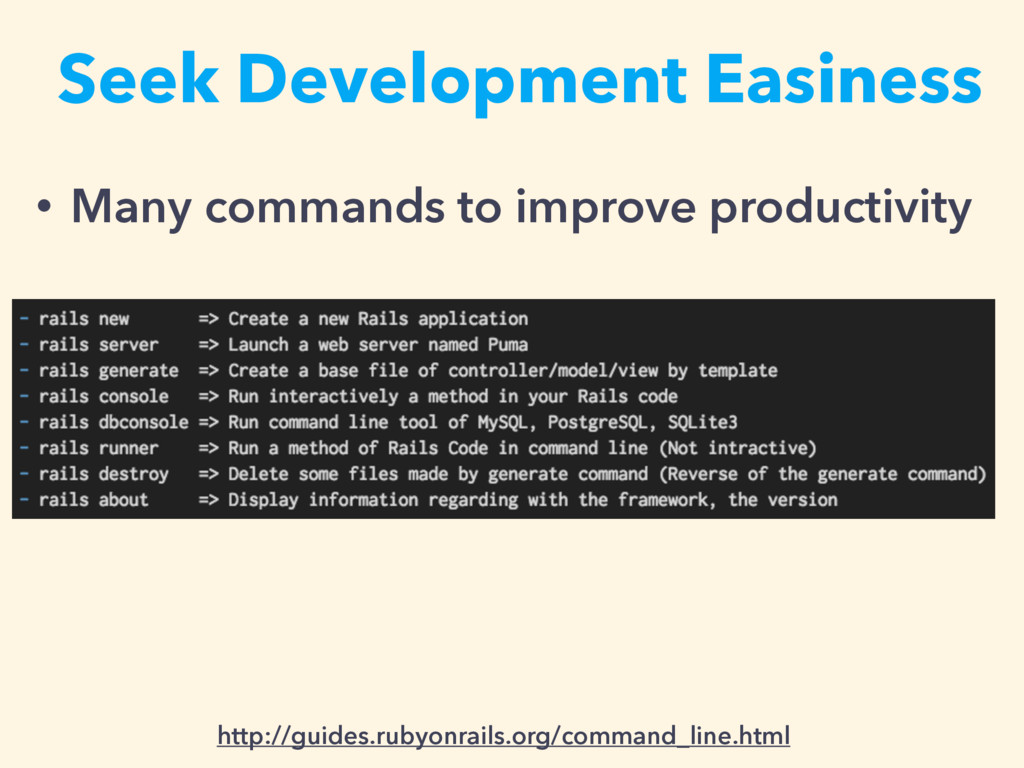 • Many commands to improve productivity Seek De...