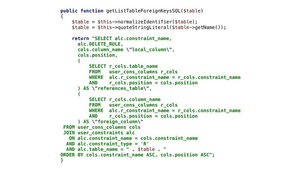 public function getListTableForeignKeysSQL($tab...