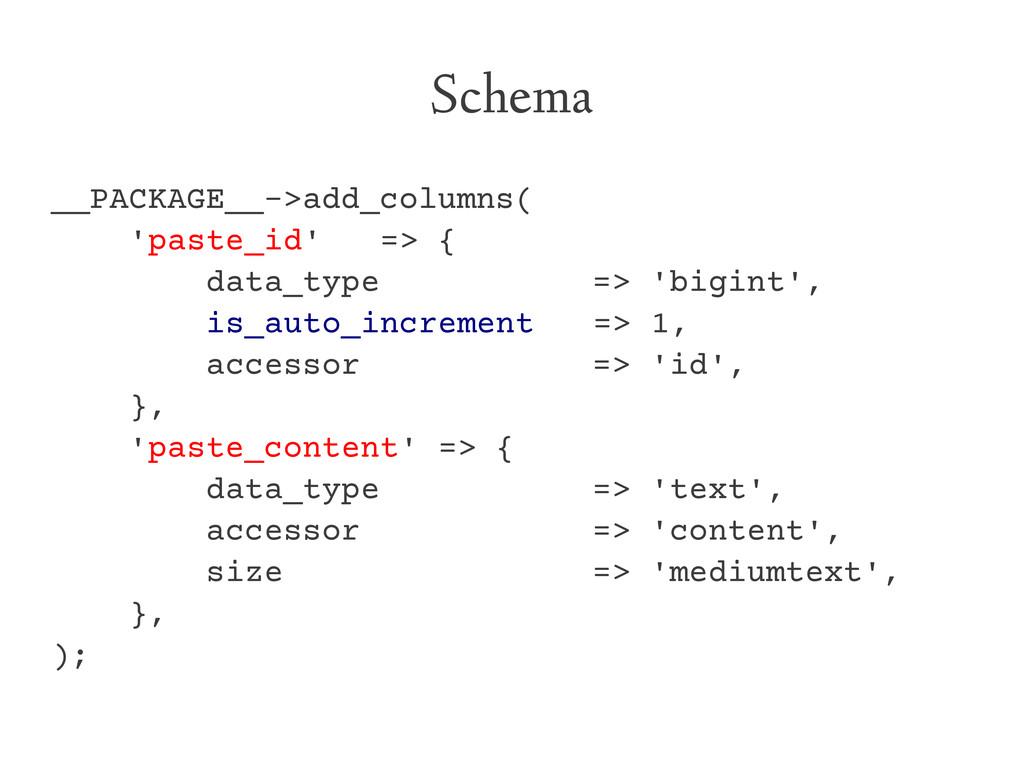 Schema __PACKAGE__->add_columns( 'paste_id' => ...