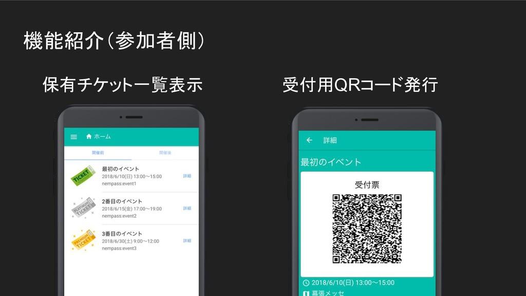 機能紹介(参加者側) 保有チケット一覧表示 受付用QRコード発行
