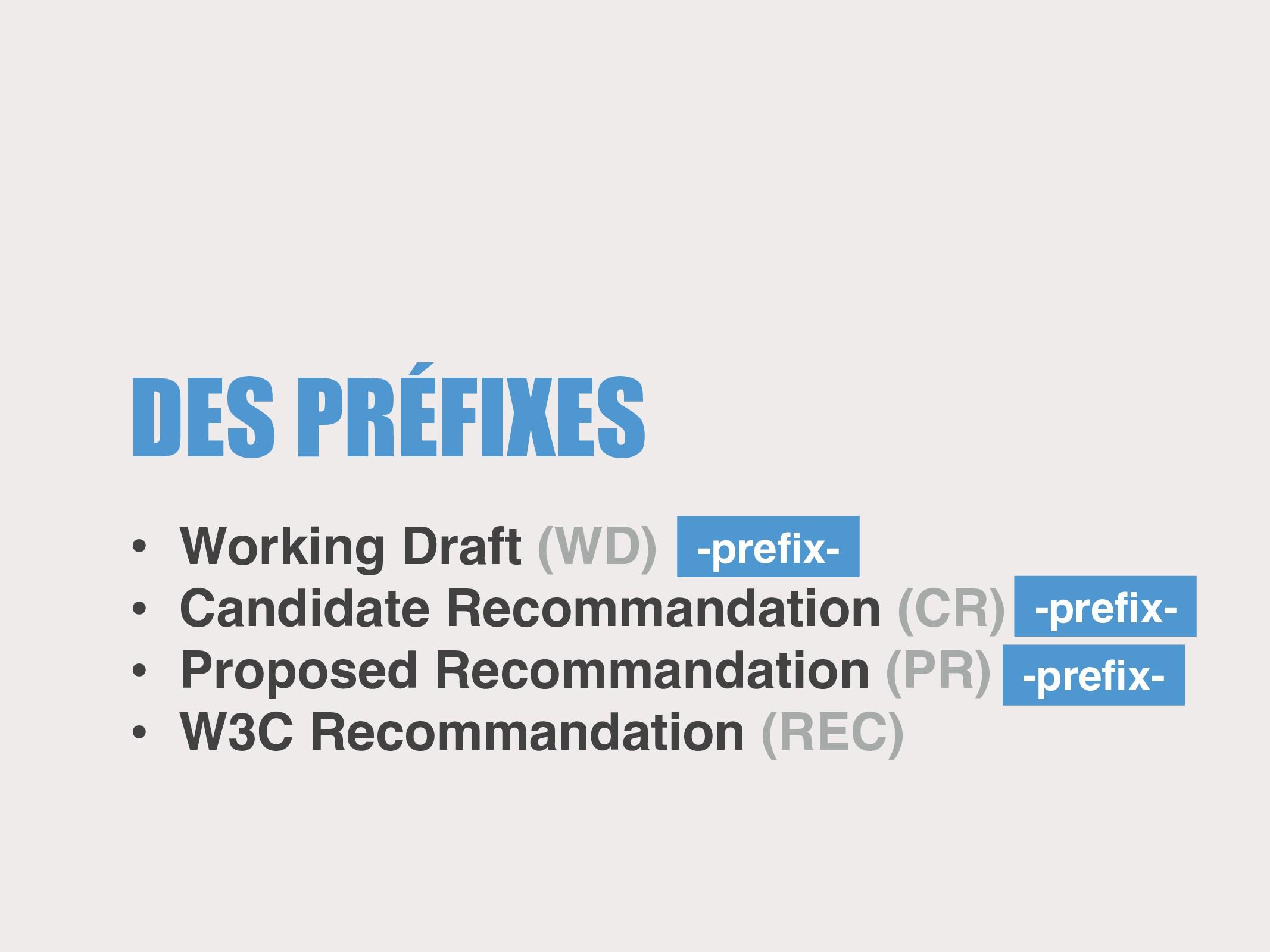DES PRÉFIXES • Working Draft (WD) • Candidate R...