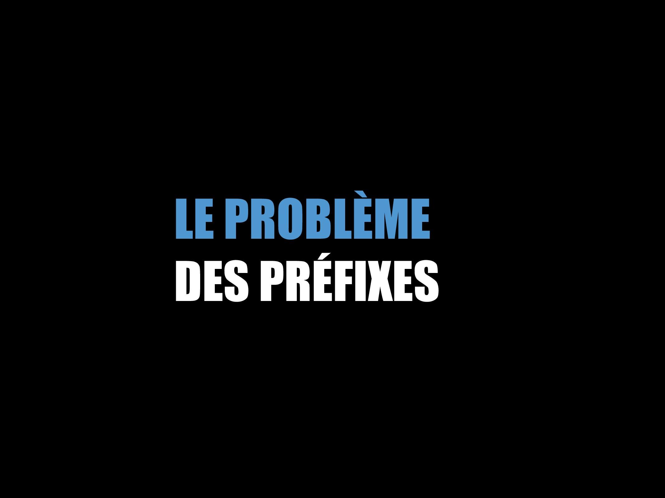 LE PROBLÈME DES PRÉFIXES