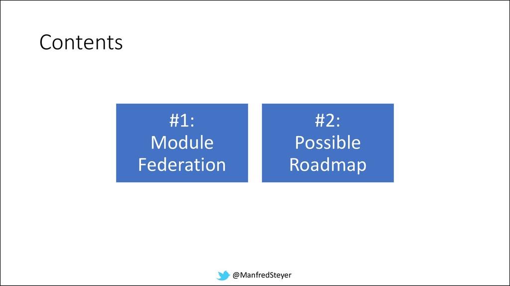 @ManfredSteyer Contents #1: Module Federation #...