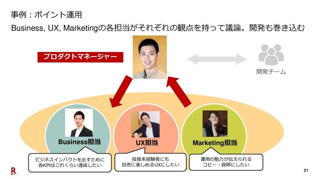 21 Business, UX, Marketingの各担当がそれぞれの観点を持って議論。開発...