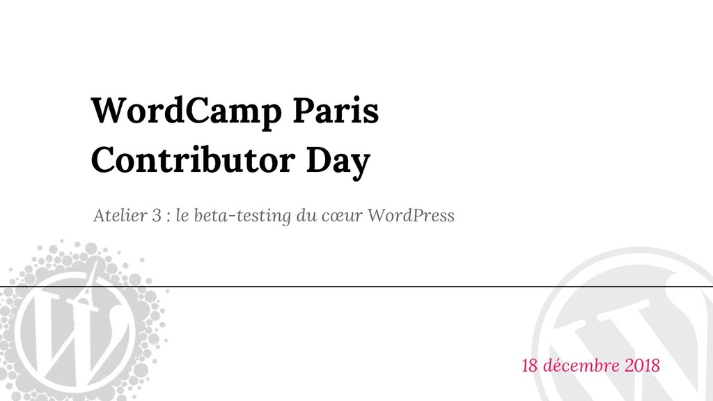 WordCamp Paris Contributor Day Atelier 3 : le b...