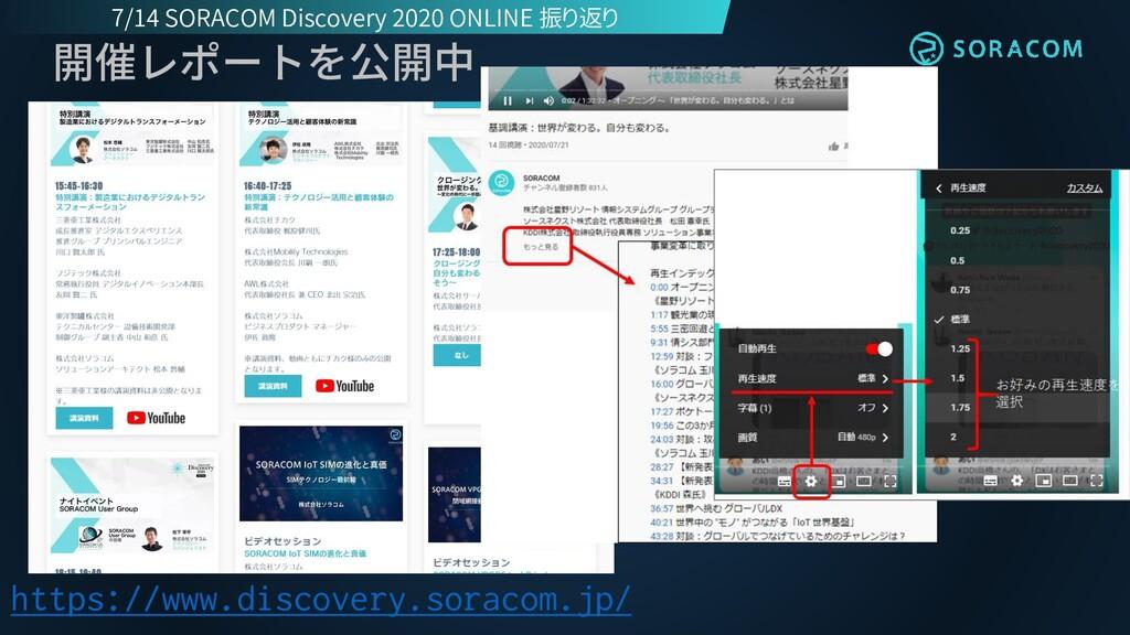 開催レポートを公開中 https://www.discovery.soracom.jp/ 7/...
