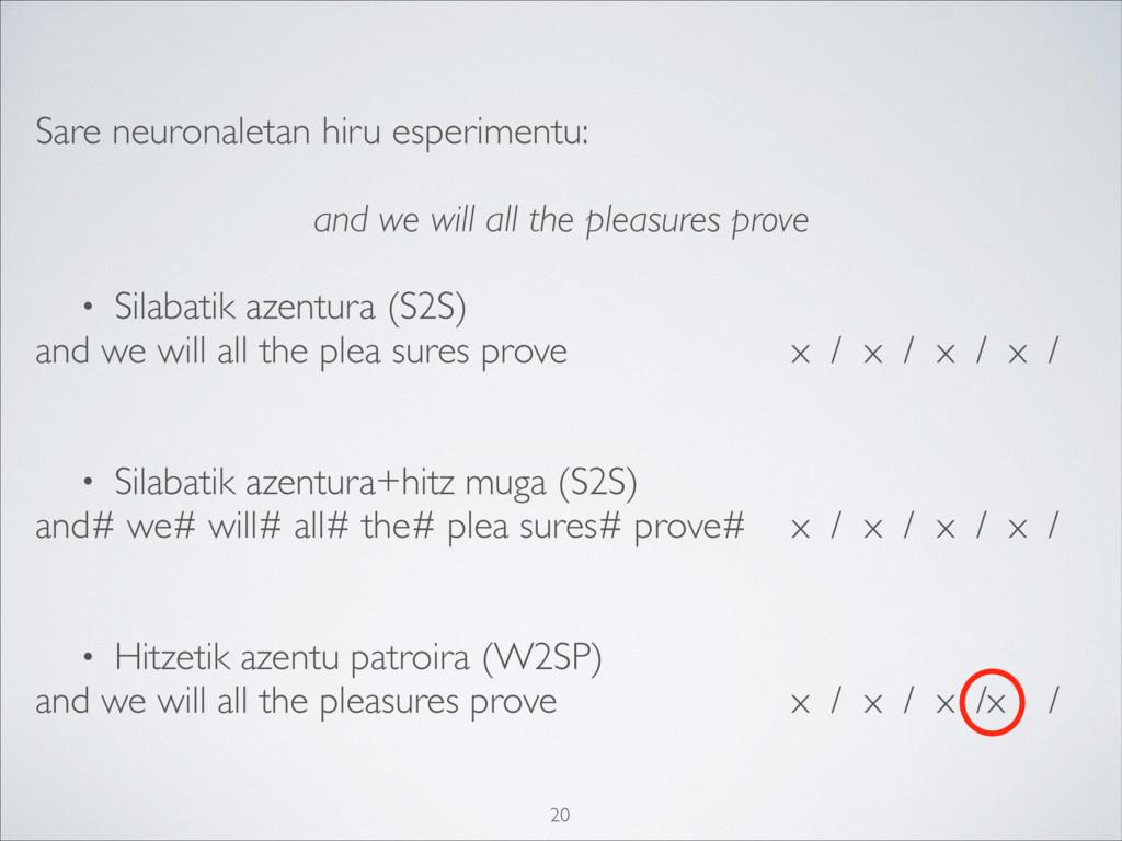 Sare neuronaletan hiru esperimentu: and we will...