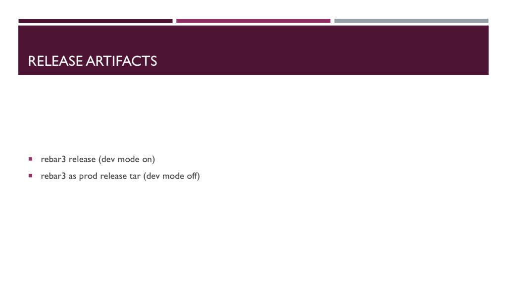RELEASE ARTIFACTS ¡ rebar3 release (dev mode on...