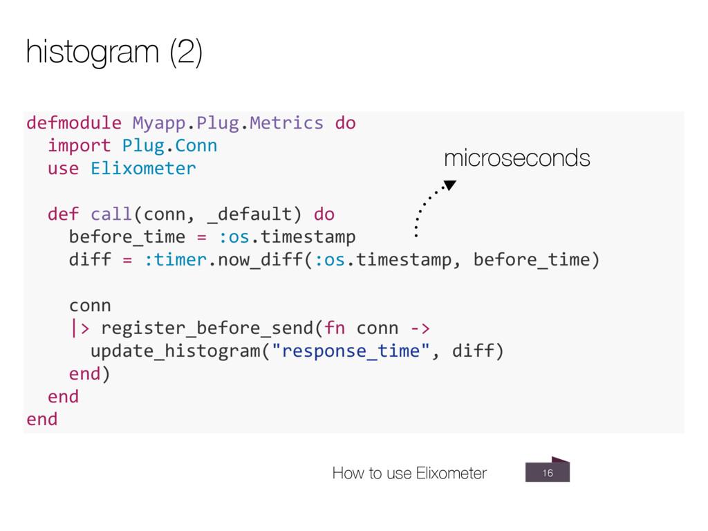 16 histogram (2) defmodule Myapp.Plug.Metrics d...