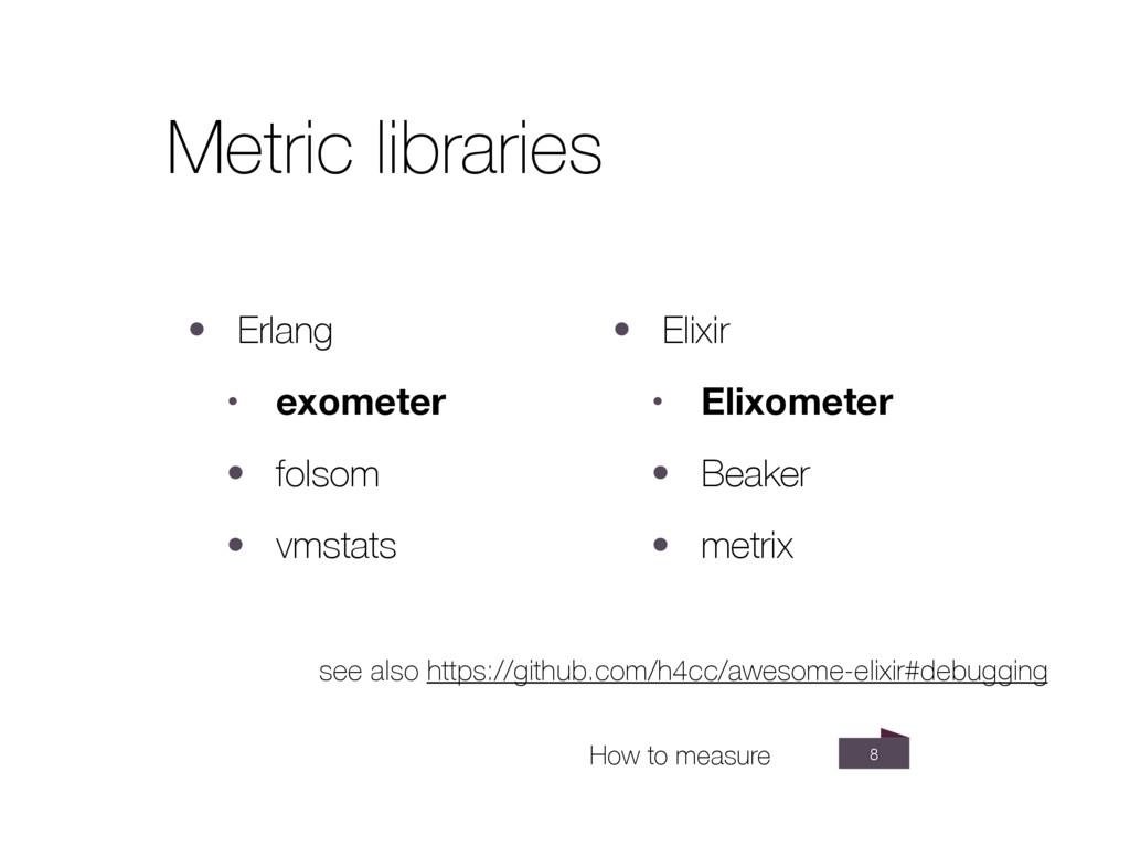 8 Metric libraries • Erlang • exometer • folsom...
