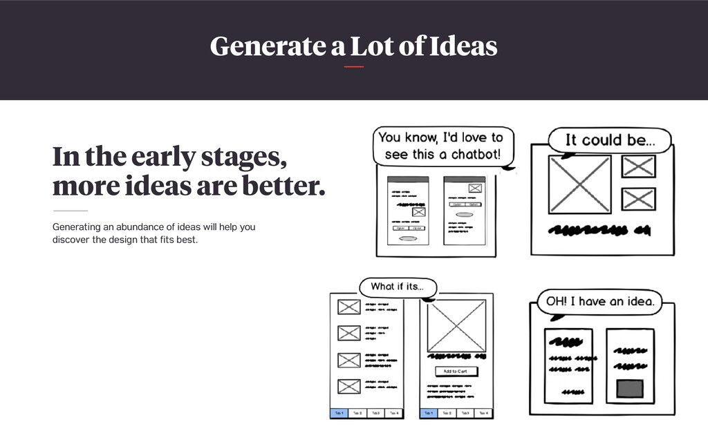 Generate a Lot of Ideas In the early stages, mo...
