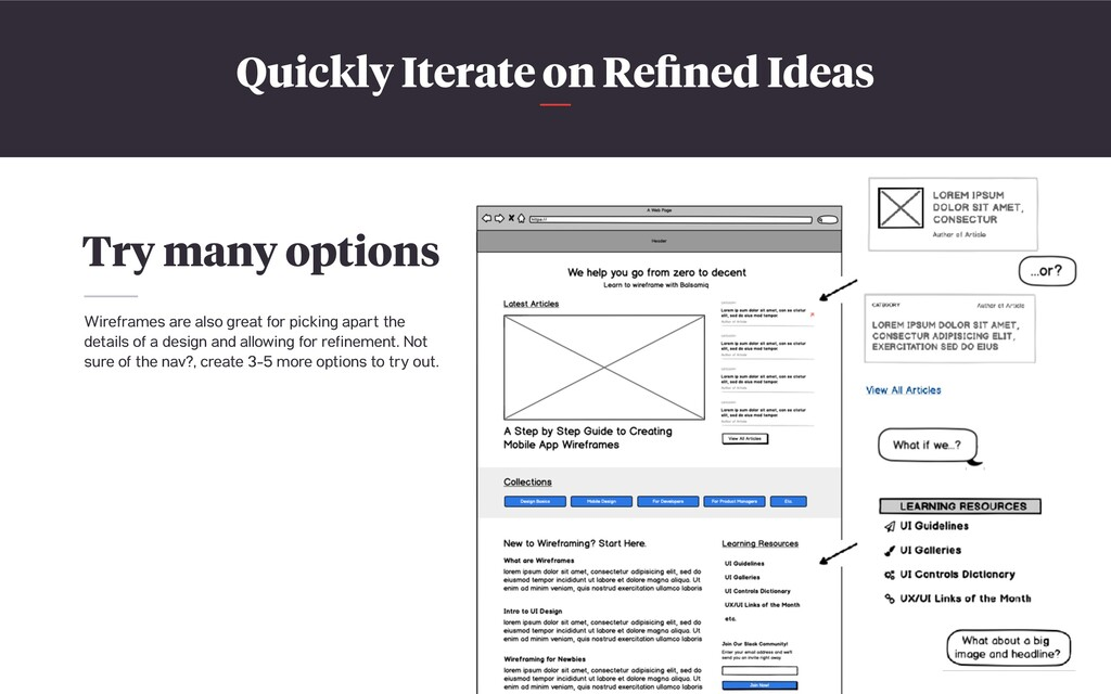 Quickly Iterate on Refined Ideas Try many option...