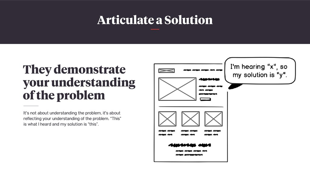 Articulate a Solution They demonstrate your und...