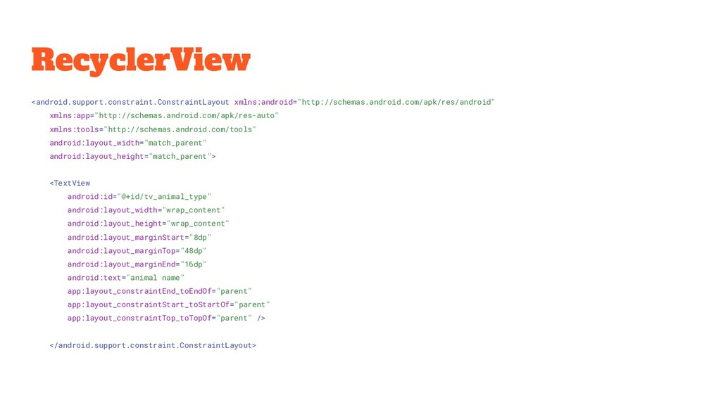 RecyclerView <android.support.constraint.Constr...