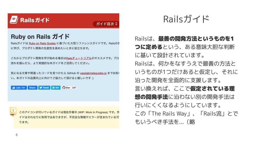 Railsガイド Railsは、最善の開発方法というものを1 つに定めるという、ある意味大胆な...