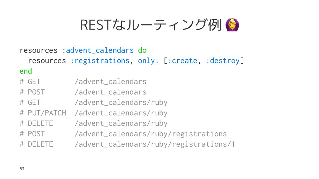 RESTなルーティング例 resources :advent_calendars do res...