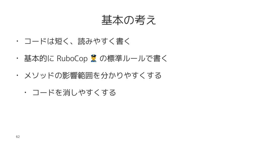 基本の考え • コードは短く、読みやすく書く • 基本的に RuboCop ! の標準ルールで...