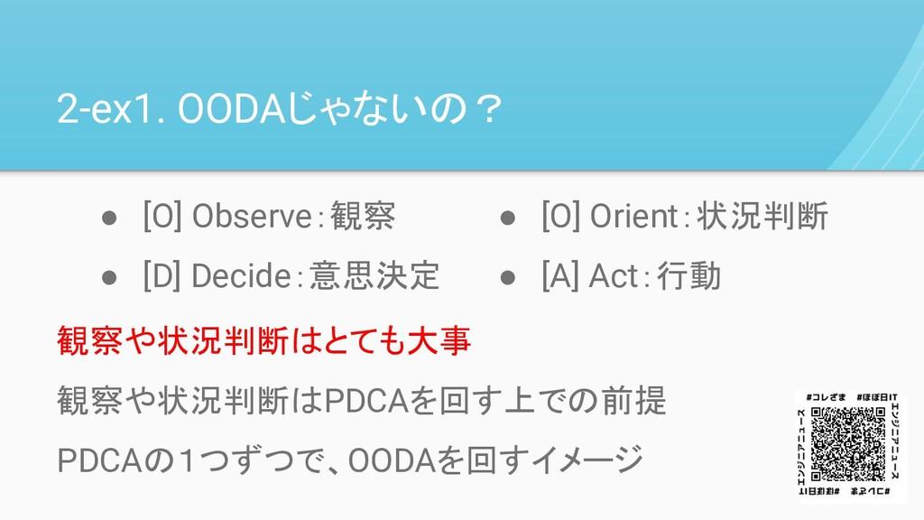 2-ex1. OODAじゃないの? 観察や状況判断はとても大事 観察や状況判断はPDCAを回す...