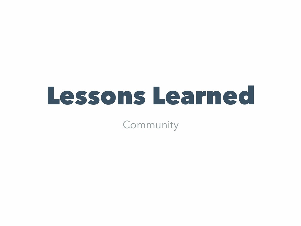 Lessons Learned Community