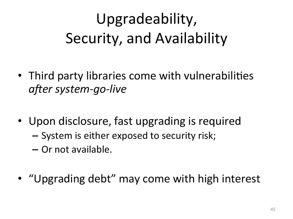 Upgradeability,	