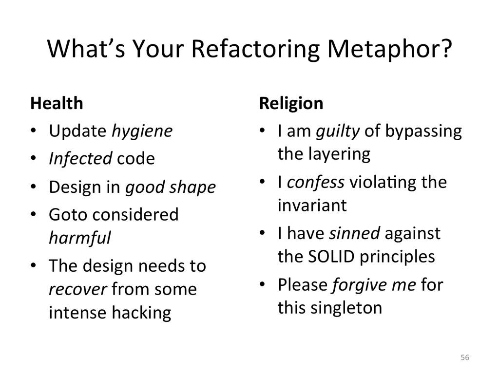 What's Your Refactoring Metaphor?  ...