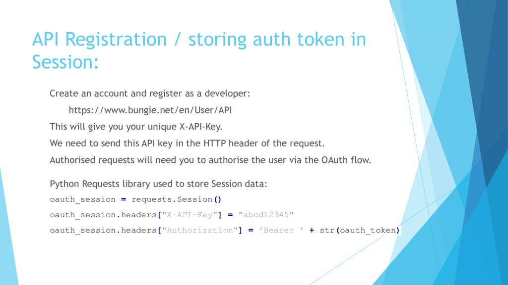 API Registration / storing auth token in Sessio...