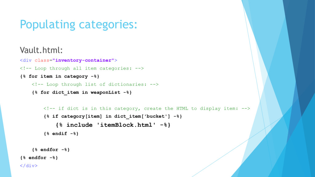 "Populating categories: Vault.html: <div class=""..."