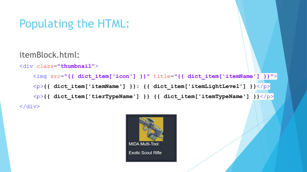 Populating the HTML: itemBlock.html: <div class...