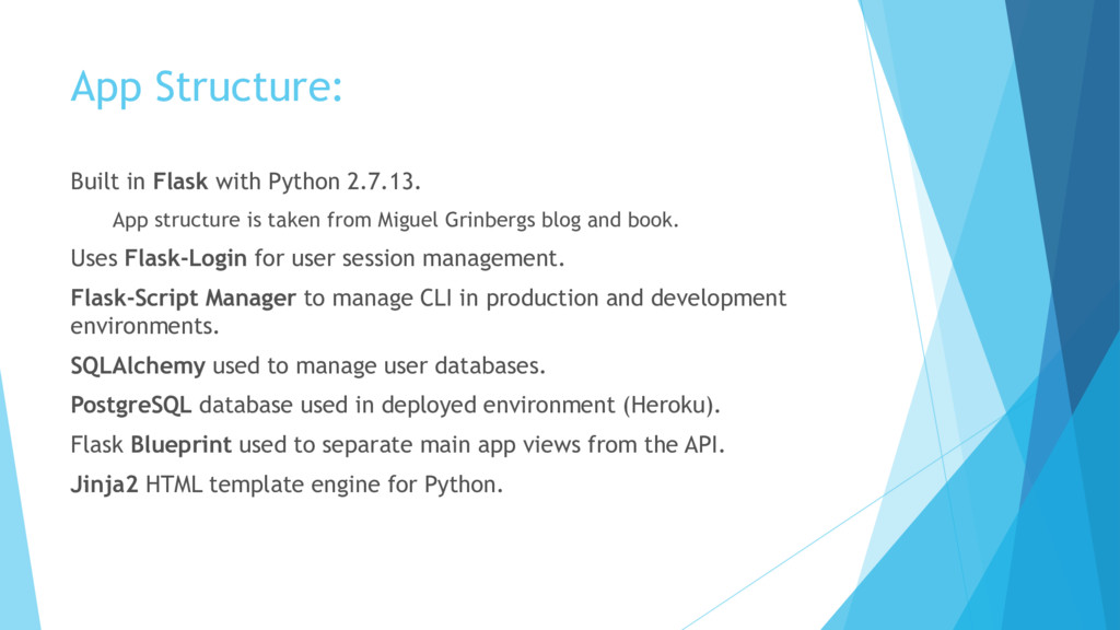 App Structure: Built in Flask with Python 2.7.1...