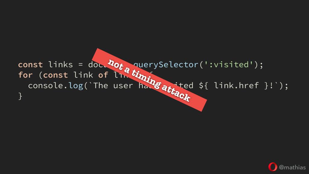 @mathias const links = document.querySelector('...