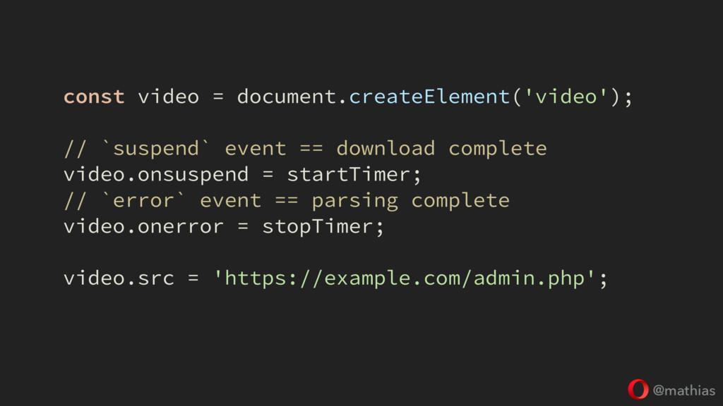@mathias const video = document.createElement('...