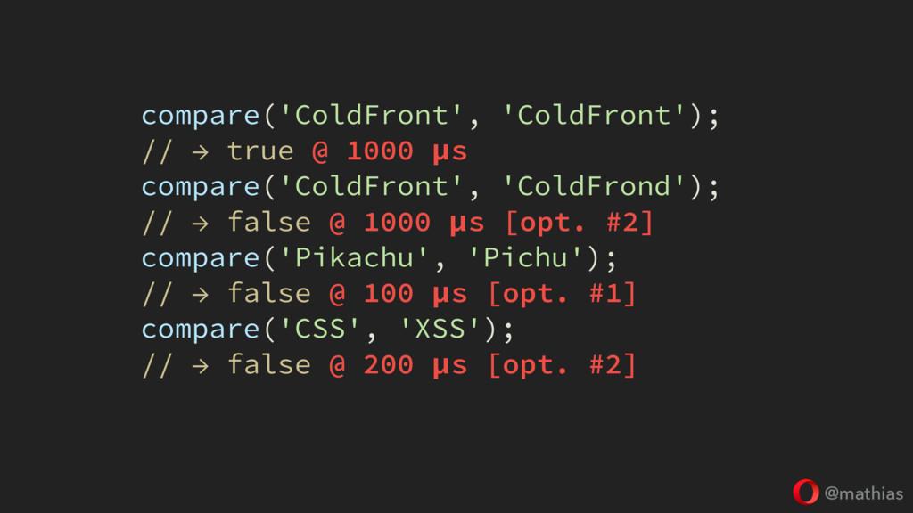 @mathias compare('ColdFront', 'ColdFront'); // ...