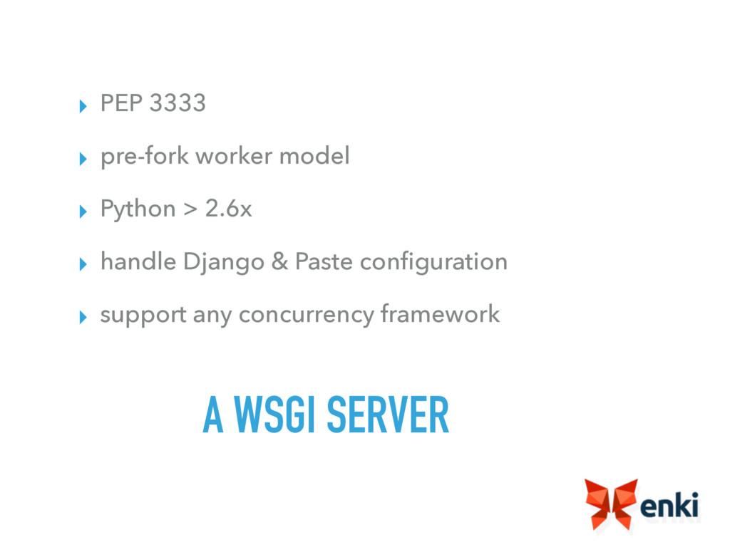 A WSGI SERVER ▸ PEP 3333 ▸ pre-fork worker mode...