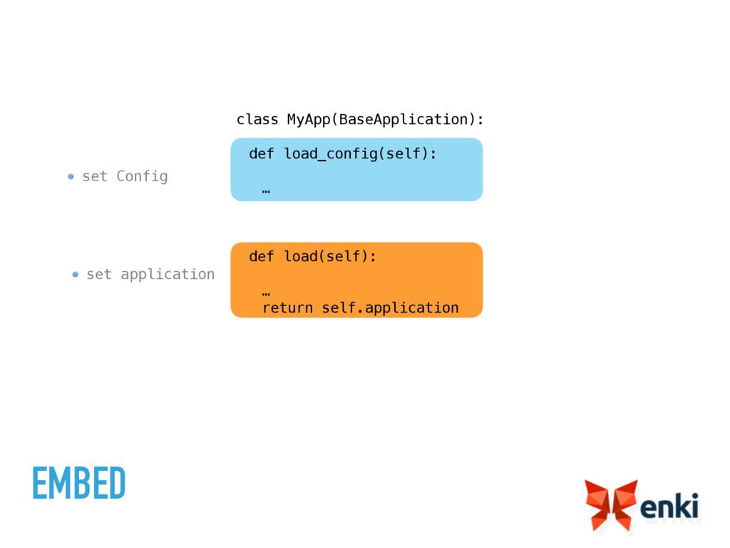 set application set Config EMBED class MyApp(Ba...